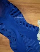 lipsy london kobaltowa sukienka bandage siateczka