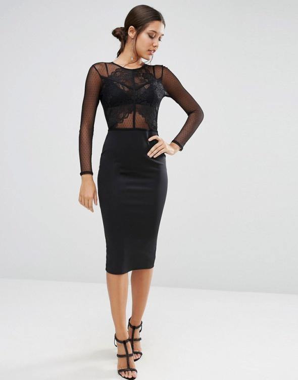 e26314aee12e Asos midi koronkowa czarna sukienka ołówkowa w Suknie i sukienki ...