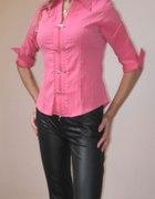 Różowa elegancka koszula z krótszym rękawem