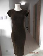 Sukienka Złota Dopasowana Ołówkowa Tuba Wieczorowa Imprezowa 36