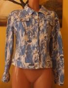 Błękitna jeansowa kurtka w tygrysy 40 42