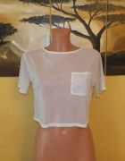 Biała krótka bluzka z siateczki Crop top Oversize