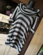 Długi sweterek w paski XL...