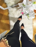 Czarne legginsy Damskie suwaki rozmiar S M