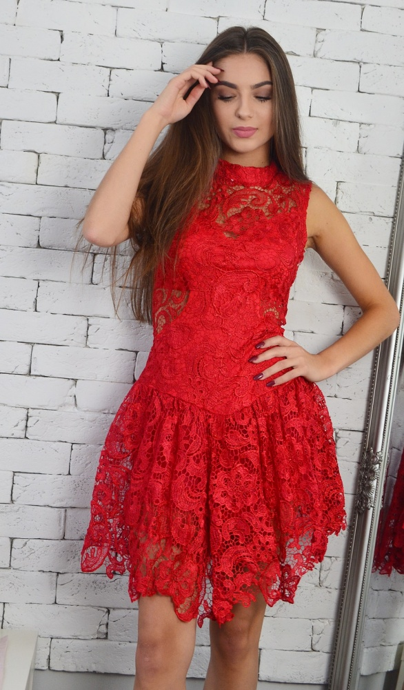 e7f33ab077 Czerwona koronkowa sukienka studniówka wesele w Suknie i sukienki ...