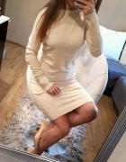 sweterkowa sukienka z dżetami