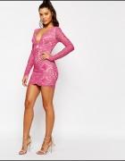 sukienka różowa koronkowa asos r l