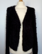 Czarny puchaty sweter kardigan narzuta F&F