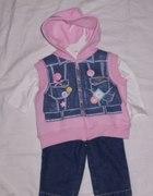 BABY WORKS spodnie bluzka i bezrękawnik roz 68