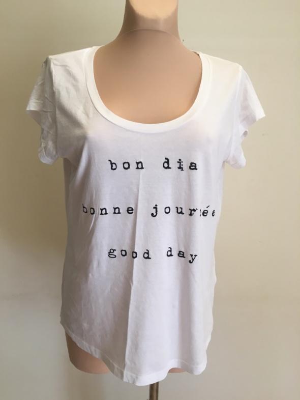 T-shirt Biały t shirt z napisami