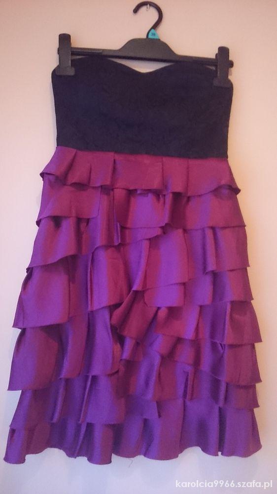 Sukienka gorsetowa koronka falbanki...