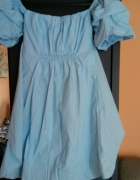 Błękitna tuniko sukienka l