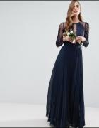 Asos maxi granatowa plisowana koronka suknia