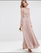Asos maxi pudrowa suknia plisowana koronka