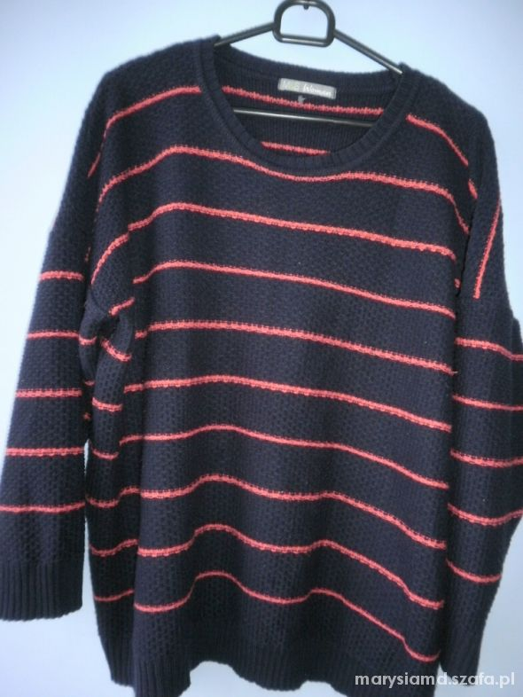 Swetry Marks and Spencer granatowy sweter oversize paski