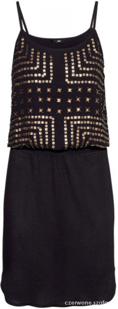 Suknie i sukienki H&M MALA CZARNA SUKIENKA Z KORALICZKAMI