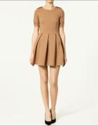 ZARA Skater Dress CAMEL rozkloszowana sukienka nude 38 M...