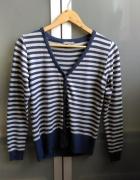 Rozpinany sweter w niebiesko szare paski