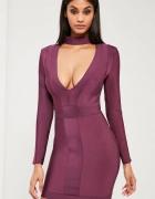Sukienka bandażowa z chokerem fioletowa MISSGUIDED...