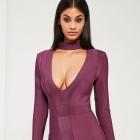 Sukienka bandażowa z chokerem fioletowa MISSGUIDED
