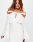Sukienka plisowana z wycięciami biała MISSGUIDED...