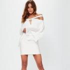 Sukienka plisowana z wycięciami biała MISSGUIDED
