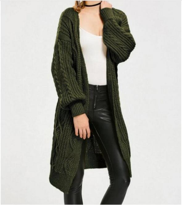 ciepły długi sweter zieleń khaki
