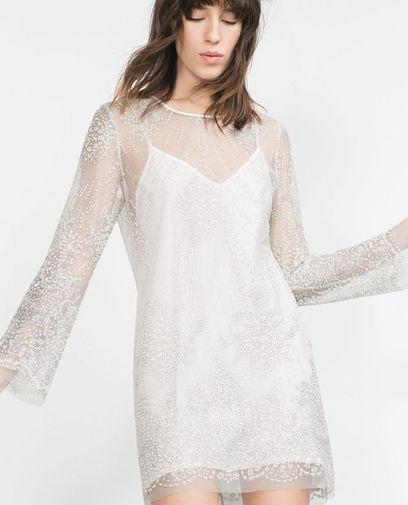 sukiena zara biała tiulowa...