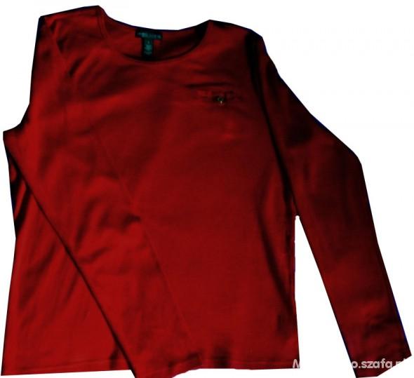 RALPH LAUREN bluzka bawełniana ciemna czerwień
