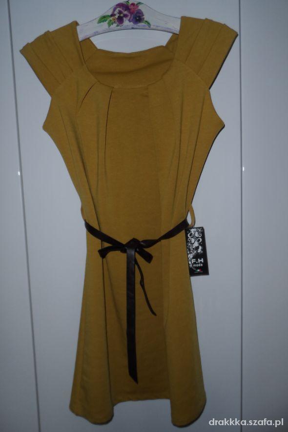 Nowa musztardowa sukienka M L