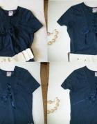 Granatowa bluzka Mango koronka