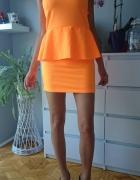 Sukienka neonowa baskinka odkryte plecy hit 36...