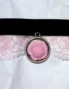 Dusik choker róża różyczka koronka pastel goth lolita
