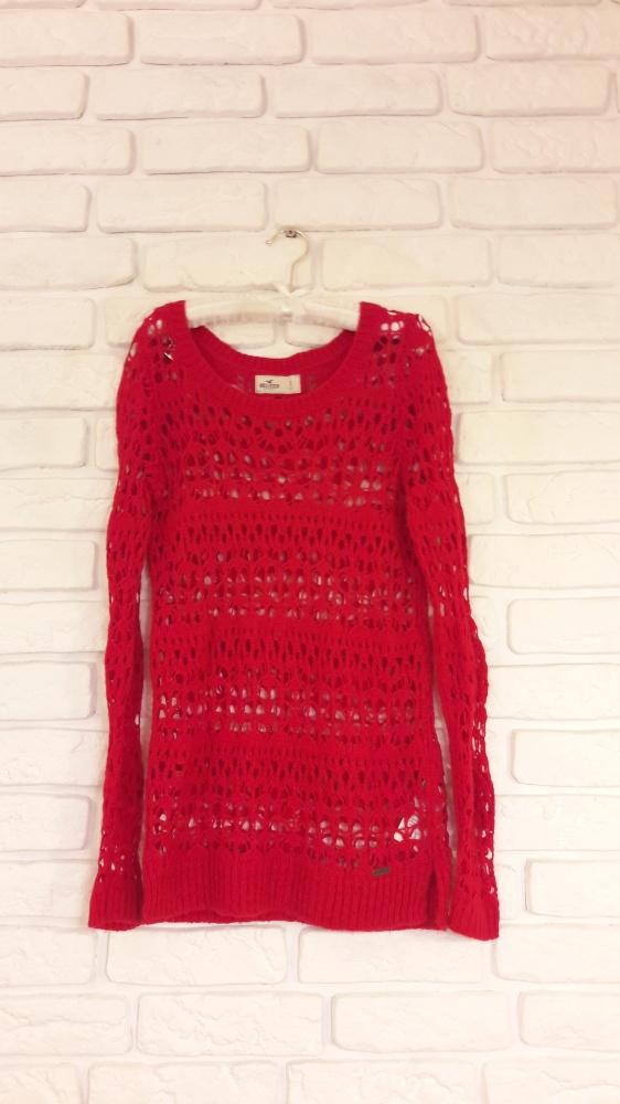 Sweter ażurowy czerwień hollister...