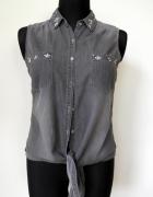 Wiązana czarna koszula jak z jeansu ze zdobieniami...