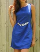 Kobaltowa sukienka cyrkonie S M 36 38 granatowa klasyczna