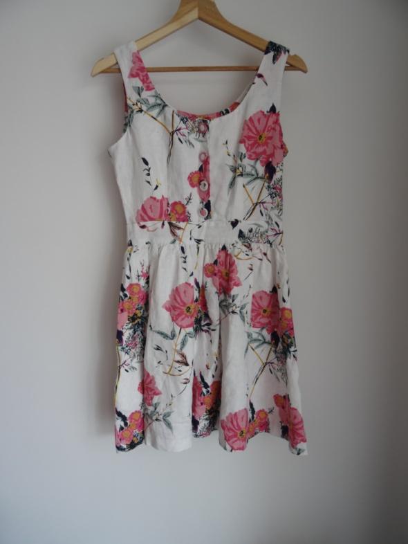 Suknie i sukienki Lniana sukienka w kwiaty