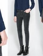 ZARA szare spodnie rurki sztruksy 34 36 XS S NOWE