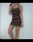 Sukienka mini azteckie wzory XXS 32