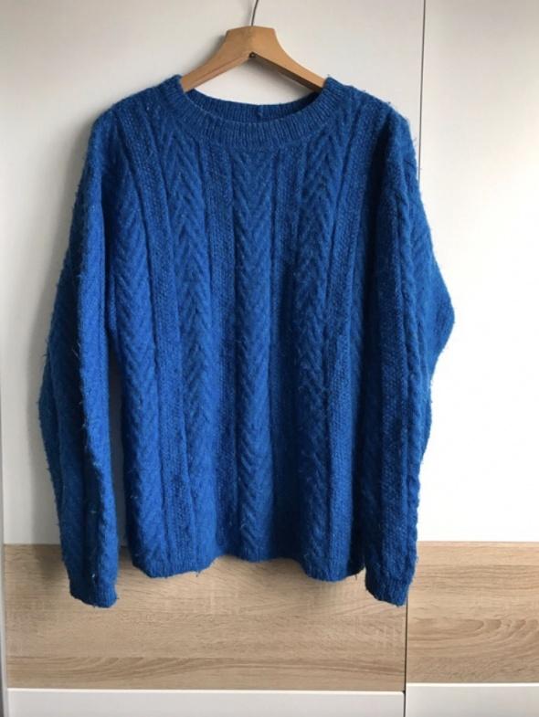 uroczy niebieski sweter oversize vintage...