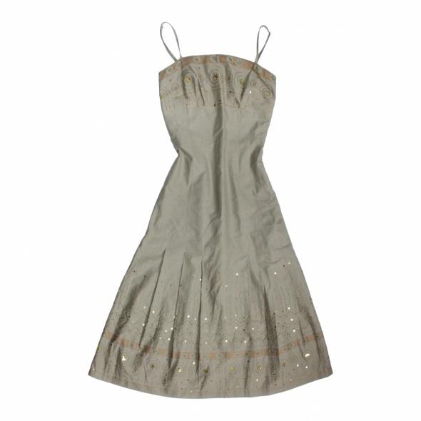 Sukienka khaki HAFT i CEKINY Solar