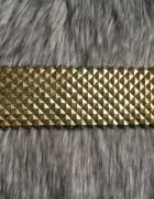 Pasek Stradivarius szeroki metalowy złoty ozdobny...