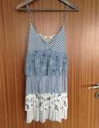 Sukienka mini tunika falbanki błekitna floral Pull&Bear M