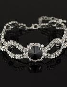 Elegancka ślubna bransoletka kryształ czarna