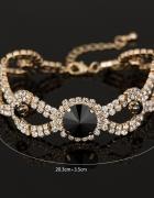 Elegancka ślubna bransoletka złota kryształ czarny