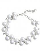 Bransoletka srebrna perły cyrkonie