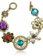 Bransoletka stare złoto perły cyrkonie