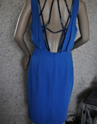 Elegancka turkusowa sukienka 38 koraliki na plecach wycięcia...