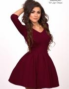 LISA sukienka z dekoltem bordowa S...