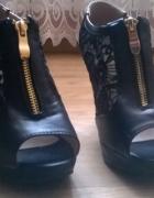 Eleganckie letnie buty czarne z koronka rozmiar 37 38